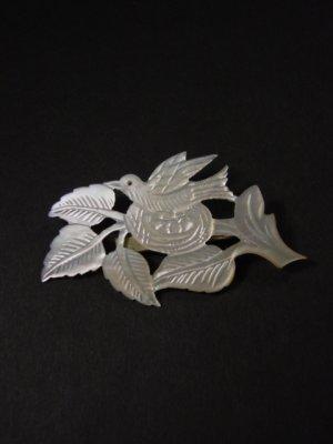 画像1: アンティークアクセサリー 真珠貝の鳥のブローチ 1900s〜1930s