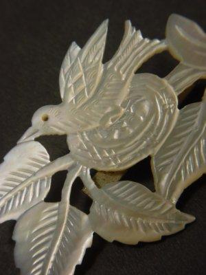 画像2: アンティークアクセサリー 真珠貝の鳥のブローチ 1900s〜1930s