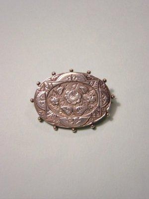 画像1: アンティークアクセサリー シルバーのバラのブローチ 1887年