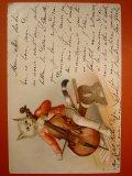 チェロを弾いている猫のポストカード 1904年