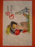 アンティーク 兎のポストカード 1920s